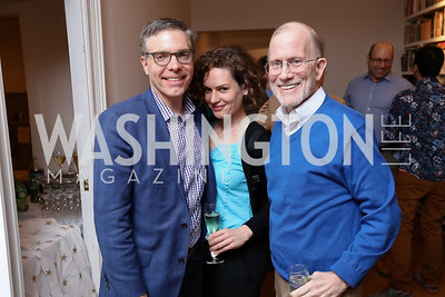 "Matt Lewis, Erin DeLullo, Michael Cromartie. Photo by Tony Powell. ""End of Europe"" Book Party. The Wyoming. March 9, 2017"