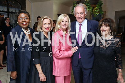 Cynthia Bunton, Betty Ann Tanner, Susan Blumenthal, Sen. Ed Markey, Didi Cutler. Photo by Tony Powell. Intl. Student House 2017 Global Leadership Awards. October 4, 2017