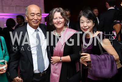 Japan Amb. Kenichiro Sasae, Amanda Downes, Nobuko Sasae. Photo by Tony Powell. Intl. Student House 2017 Global Leadership Awards. October 4, 2017