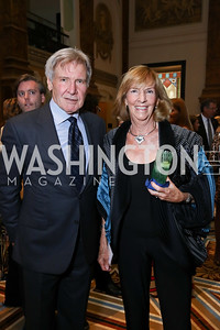 Harrison Ford, Wendy Benchley. Photo by Tony Powell. Inaugural Monkey Ball. Kogod Courtyard. September 28, 2017