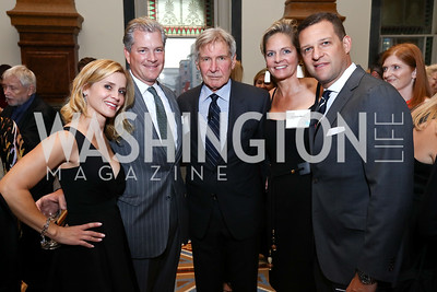 Stacey Lubar, Nels Olson, Harrison Ford, Kristen Olson, Greg Lubar. Photo by Tony Powell. Inaugural Monkey Ball. Kogod Courtyard. September 28, 2017