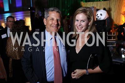 Steve Elmendorf, Stephanie Cutter. Photo by Tony Powell. Inaugural Monkey Ball. Kogod Courtyard. September 28, 2017