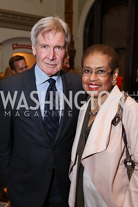 Harrison Ford, Rep. Eleanor Holmes Norton. Photo by Tony Powell. Inaugural Monkey Ball. Kogod Courtyard. September 28, 2017