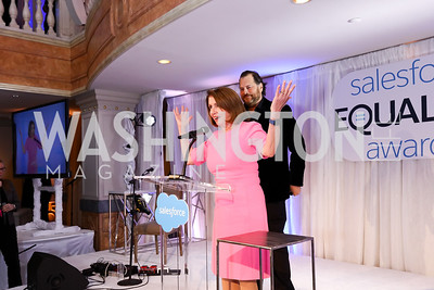 Leader Nancy Pelosi, Salesforce Founder, Chairman, and CEO Marc Benioff. Photo by Tony Powell. Inaugural Salesforce Equality Awards. NMWA. April 3, 2017