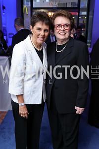 Ilana Kloss, Billie Jean King. Photo by Tony Powell. Inaugural Salesforce Equality Awards. NMWA. April 3, 2017