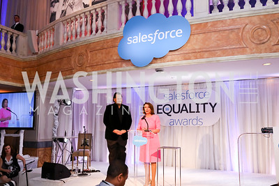 Salesforce Founder, Chairman, and CEO Marc Benioff, Leader Nancy Pelosi. Photo by Tony Powell. Inaugural Salesforce Equality Awards. NMWA. April 3, 2017