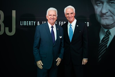 Jim Costa and Charlie Crist. LBJ Foundation awarded its most prestigious prize, the LBJ Liberty & Justice for All Award, to philanthropist David M. Rubenstein on November 8, 2017.  Photography by Joy Asico