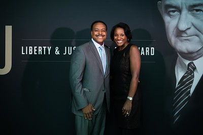 Leon Harris and Dawn Lomax. LBJ Foundation awarded its most prestigious prize, the LBJ Liberty & Justice for All Award, to philanthropist David M. Rubenstein on November 8, 2017.  Photography by Joy Asico