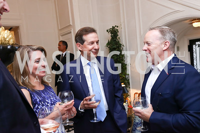 Rebecca Spicer, Chris Wallace, Sean Spicer. Photo by Tony Powell. Lawrence Kudlow Book Party. Ross Residence. August 2, 2017