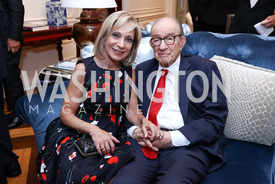 Andrea Mitchell and Alan Greenspan. Photo by Tony Powell. Lawrence Kudlow Book Party. Ross Residence. August 2, 2017