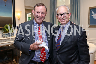 Don Graham, Jeff Moseley. Photo by Tony Powell. Lawrence Kudlow Book Party. Ross Residence. August 2, 2017