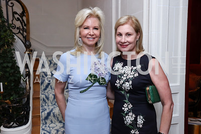 Hilary Ross, Lorraine Wallace. Photo by Tony Powell. Lawrence Kudlow Book Party. Ross Residence. August 2, 2017