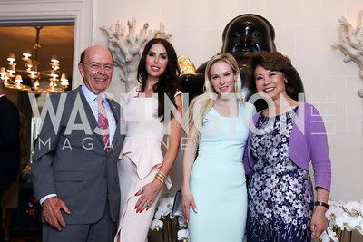 Sec. Wilbur Ross, Amy Baier, Louise Linton, Sec. Elaine Chao. Photo by Tony Powell. Lawrence Kudlow Book Party. Ross Residence. August 2, 2017
