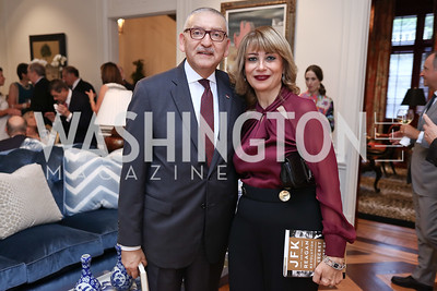 Egypt Amb. Yasser Reda and Nahla Reda. Photo by Tony Powell. Lawrence Kudlow Book Party. Ross Residence. August 2, 2017