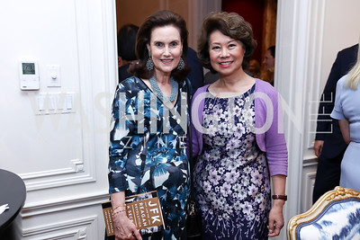 Alexandra de Borchgrave, Sec. Elaine Chao. Photo by Tony Powell. Lawrence Kudlow Book Party. Ross Residence. August 2, 2017