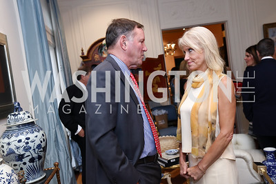 Don Graham, Kellyanne Conway. Photo by Tony Powell. Lawrence Kudlow Book Party. Ross Residence. August 2, 2017