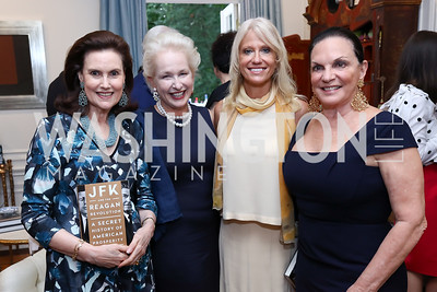 Alexandra de Borchgrave, Jeannie Rutherfoord, Kellyanne Conway, Grace Bender. Photo by Tony Powell. Lawrence Kudlow Book Party. Ross Residence. August 2, 2017