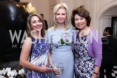 Rebecca Spicer, Hilary Ross, Sec. Elaine Chao. Photo by Tony Powell. Lawrence Kudlow Book Party. Ross Residence. August 2, 2017