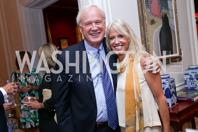 Chris Matthews, Kellyanne Conway. Photo by Tony Powell. Lawrence Kudlow Book Party. Ross Residence. August 2, 2017
