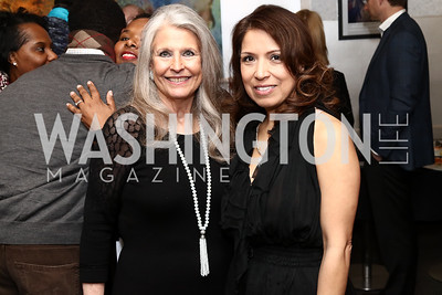 Barbara Hawthorn, Diana Villarreal. Photo by Tony Powell. Manuela's Fearless Woman Award. Il Canale. January 8, 2017