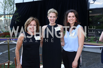 Deidre Adkins, Elizabeth Kaufman, Victoria Woodall. Photo by Tony Powell. Bunny Mellon Healing Garden Ribbon Cutting. CNMC. April 28, 2017