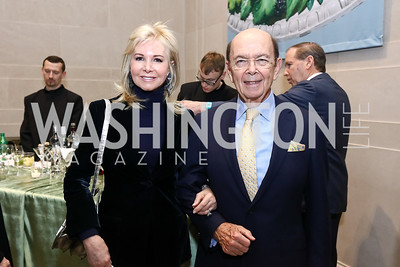 Hilary Ross and Commerce Sec. Wilbur Ross. Photo by Tony Powell. National Gallery Della Robbia Opening. February 1, 2017