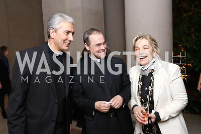 Monsignor Edward Filardi, Father Paul Scalia, Francesca Craig. Photo by Tony Powell. National Gallery Della Robbia Opening. February 1, 2017