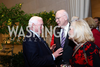 Rusty Powell, Sen. Patrick Leahy, Marcelle Leahy. Photo by Tony Powell. National Gallery Della Robbia Opening. February 1, 2017
