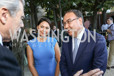 Danara Kazykhanov and Kazakhstan Amb. Erzhan Kazykhanov. Photo by Tony Powell. Reception in Honor of Newly Arrived Ambassadors. Meridian. September 7, 2017