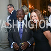 Ghana Amb. Dr. Barfuor Adjei-Barwuah, Lee Satterfield. Photo by Tony Powell. Reception in Honor of Newly Arrived Ambassadors. Meridian. September 7, 2017