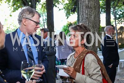Tom Monahan, Dorothy Kosinski. Photo by Tony Powell. Reception in Honor of Newly Arrived Ambassadors. Meridian. September 7, 2017