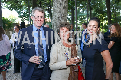 Tom Monahan, Dorothy Kosinski, Gwen Holliday. Photo by Tony Powell. Reception in Honor of Newly Arrived Ambassadors. Meridian. September 7, 2017