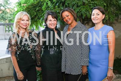 Cheryl Masri, Grace Bender, Marcia Jackson, Danara Kazykhanov. Photo by Tony Powell. Reception in Honor of Newly Arrived Ambassadors. Meridian. September 7, 2017