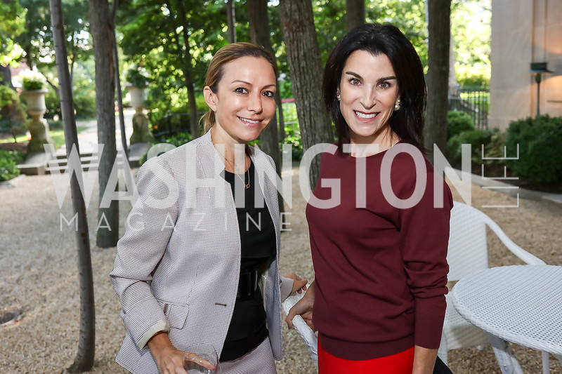 Pilar O'Leary, Tracy Bernstein. Photo by Tony Powell. Reception in Honor of Newly Arrived Ambassadors. Meridian. September 7, 2017