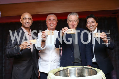 UAE Amb. Yousef Al Otaiba, Nobu Matsuhisa, Robert De Niro, Hiro Tahara. Photo by Tony Powell. Nobu DC Opening Sake Ceremony. October 29, 2017