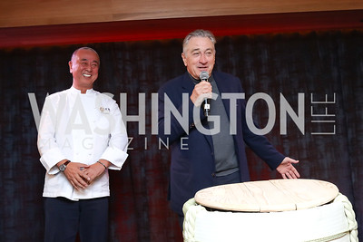 Nobu Matsuhisa, Robert De Niro. Photo by Tony Powell. Nobu DC Opening Sake Ceremony. October 29, 2017