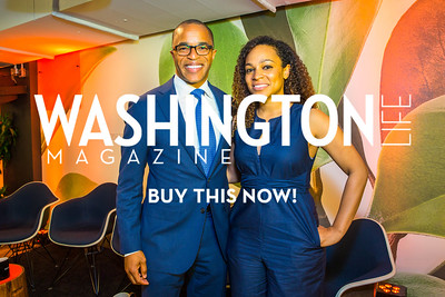 Jonathan Capehart, Monique Dorsainvil. Photo by Alfredo Flores. Our Voices - Uplifting Diversity in Media. WeWork White House. April 28, 2017