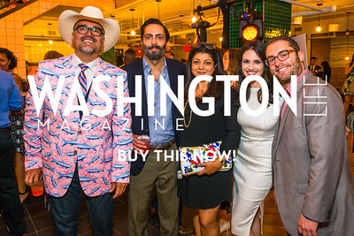 Chuck Rocha, Rafael Bernal, Praveen Singh, Nomiki Konst, Jordan Chariton. Photo by Alfredo Flores. Our Voices - Uplifting Diversity in Media. WeWork White House. April 28, 2017