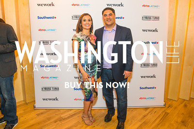 Maria Teresa Kumar, Cenk Uygur. Photo by Alfredo Flores. Our Voices - Uplifting Diversity in Media. WeWork White House. April 28, 2017