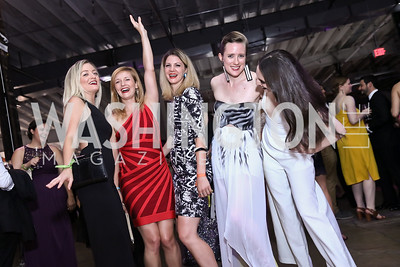 Catherine Howard, Jenn Gustetic, Nicole Slezak, Camilla Peterson, Adrienne Delibert. Photo by Tony Powell. 2017 Phillips Collection Gala After Party. Union Market. May 19, 2017