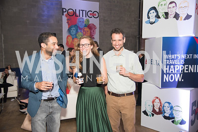 Daniel Strauss, Hayley Moller, Jason Schwartz, Politico 50 Celebration, Union Market Dock 5, October 12, 2017.  Photo by Ben Droz