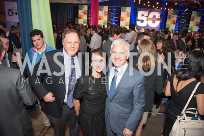 John Harris, Patrick Steel, Elana Allbritton, Politico 50 Celebration, Union Market Dock 5, October 12, 2017.  Photo by Ben Droz