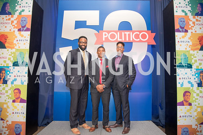 Ron Allen, Marcus Goodwin, Bryant Welters, Politico 50 Celebration, Union Market Dock 5, October 12, 2017.  Photo by Ben Droz