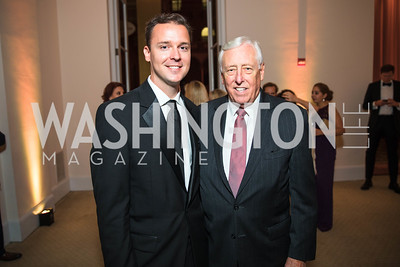 John Parkinson, Congressman Steny Hoyer. Photo by Alfredo Flores. Radio and Television Correspondents' Association Dinner. National Building Museum. October 25, 2017.