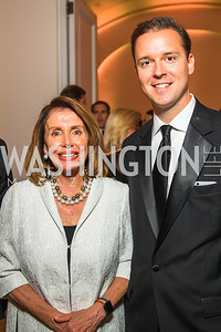 Congresswoman Nancy Pelosi, Scott Parkinson. Photo by Alfredo Flores. Radio and Television Correspondents' Association Dinner. National Building Museum. October 25, 2017.