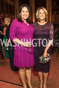 Nancy Cordes, Gloria Borger. Photo by Alfredo Flores. Radio and Television Correspondents' Association Dinner. National Building Museum. October 25, 2017.