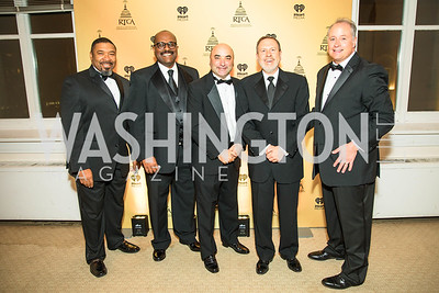 Paul Brown, Robb Harleston, Craig Caplan, Howard Mortman, Paul Orgel. Photo by Alfredo Flores. Radio and Television Correspondents' Association Dinner. National Building Museum. October 25, 2017.