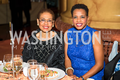 Eleanor Holmes Norton, Donna Edwards. Photo by Alfredo Flores. Radio and Television Correspondents' Association Dinner. National Building Museum. October 25, 2017.