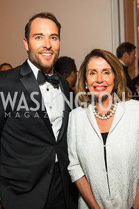 Scott Thuman, Congresswoman Nancy Pelosi. Photo by Alfredo Flores. Radio and Television Correspondents' Association Dinner. National Building Museum. October 25, 2017.