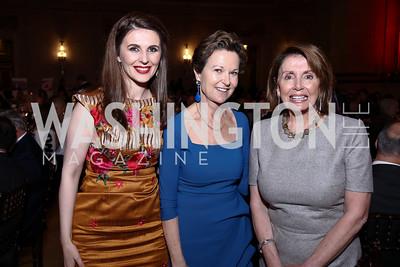 Kosovo Amb. Vlora Citaku, Kati Marton, Leader Nancy Pelosi. Photo by Tony Powell. RI 38th Anniversary Dinner. Mellon Auditorium. April 25, 2017